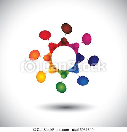 学校, 概念, 子供, 話し, ベクトル, 従業員, ミーティング, ∥あるいは∥, cir - csp15931340
