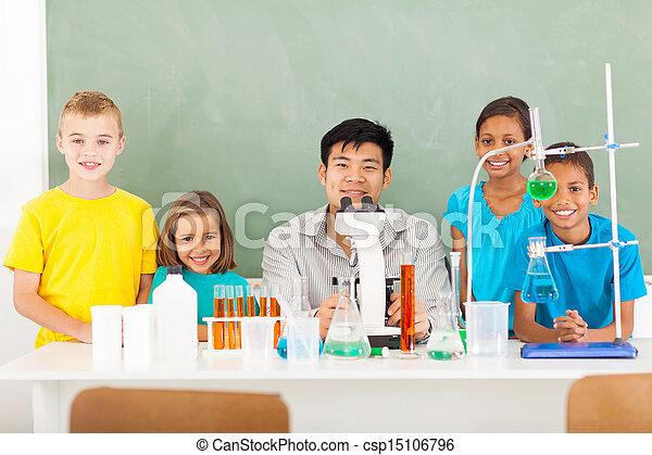 学校, 生徒, 科学 教師, 基本, クラス - csp15106796