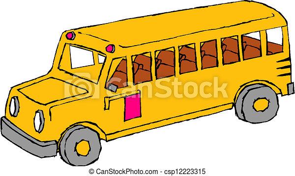 学校, bus., 黄色 - csp12223315