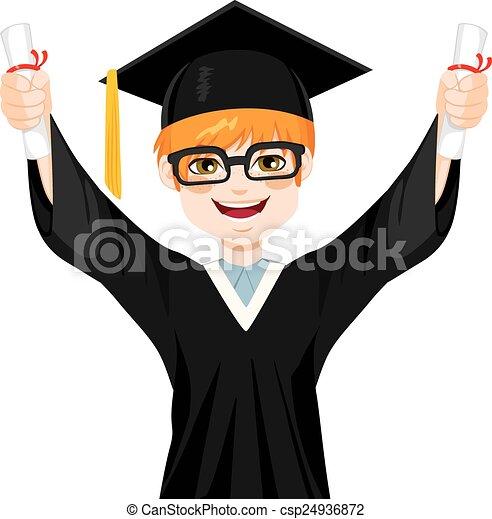 学生, 男の子, nerd, 卒業 - csp24936872