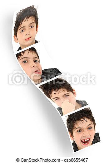 孩子, 相片, 臉, 布斯, 剝去, 做 - csp6655467