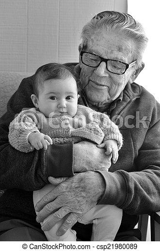 孫, 偉人, おじいさん, 抱擁, 彼の - csp21980089