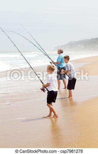 孫, 釣り, 祖父 - csp7981278