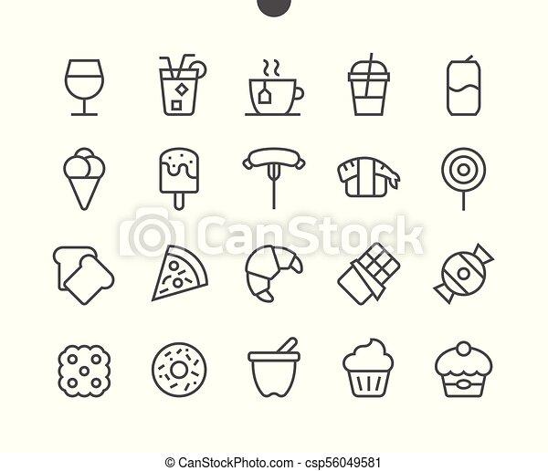 完全, 網, グラフィックス, 48x48, pictogram, 単純である, 24x24, アイコン, apps, 食物, well-crafted, ベクトル, 格子, stroke., editable, 準備ができた, ui, 線, ピクセル, 最小である, 薄くなりなさい - csp56049581