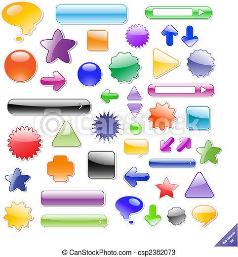 完全, 網, elements., 作成される, テキスト, コレクション, icons., 付け加える, 影, blends., ∥あるいは∥, グロッシー - csp2382073