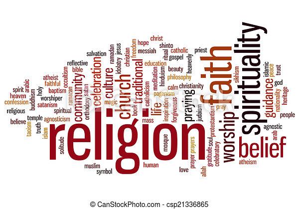 宗教, 単語, 雲 - csp21336865