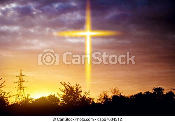 宗教, heavenly, 交差点, シンボル, 形 - csp67684312
