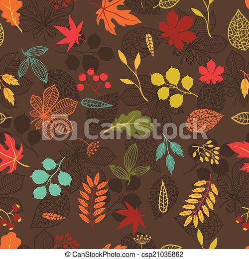 定型, パターン, seamless, leaves., 秋, ベクトル - csp21035862