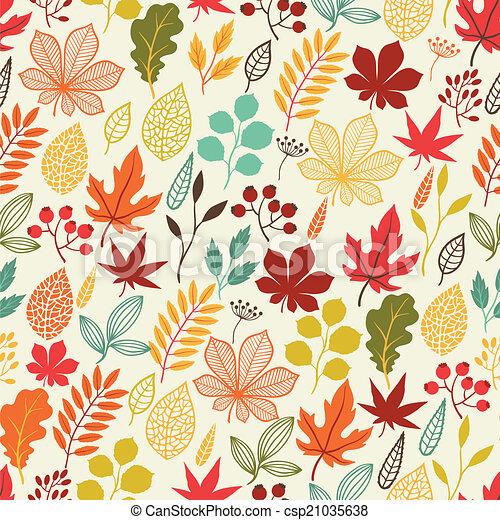 定型, パターン, seamless, leaves., 秋, ベクトル - csp21035638