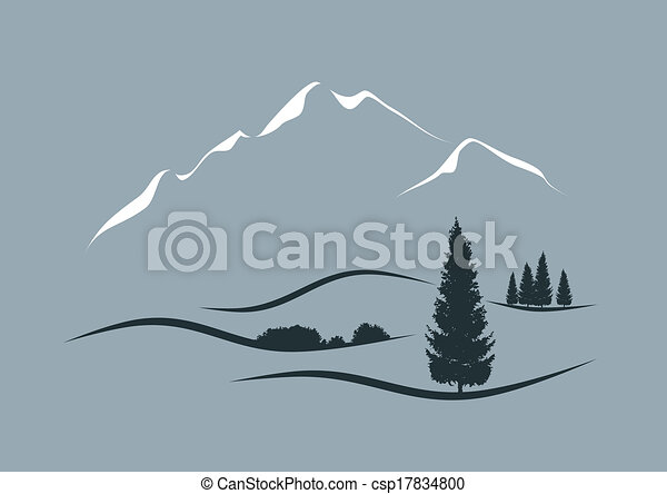 定型, ベクトル, 風景, イラスト, 高山 - csp17834800