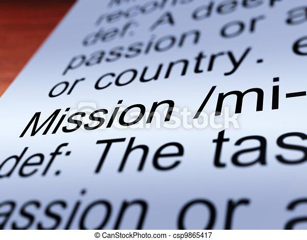 定義, 仕事, ゴール, 提示, 代表団, クローズアップ, ∥あるいは∥ - csp9865417
