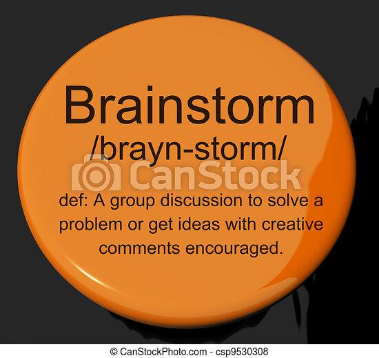 定義, 議論, ひらめき, 研究, ボタン, 考え, ショー - csp9530308