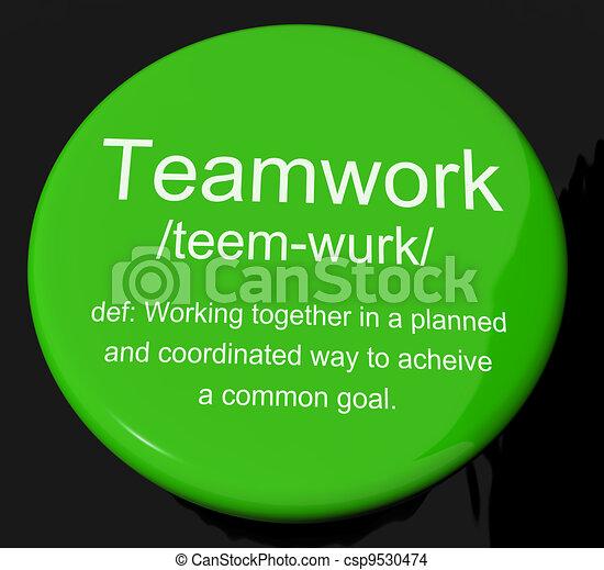 定義, cooperati, ボタン, チームワーク, 結合された, 努力, 提示 - csp9530474