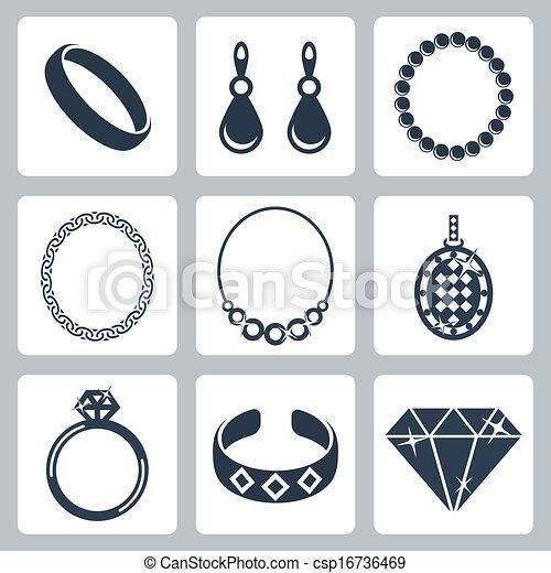 宝石類, ベクトル, セット, 隔離された, アイコン - csp16736469