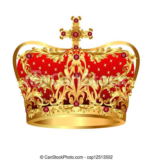 宝石, 金, 皇族, 赤, 王冠 - csp12513502