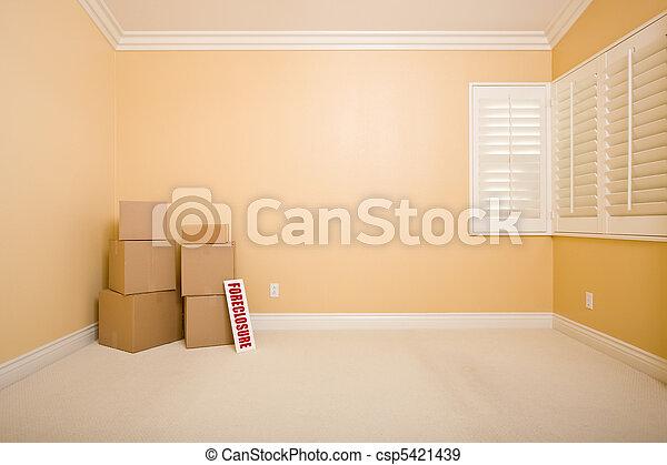 実質, コピー, 受戻権喪失, 財産, スペース, 床, 印, 箱, 引っ越し, ブランク, wall., 空 部屋 - csp5421439