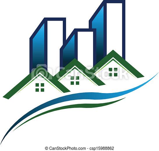 実質, ロゴ, ベクトル, 財産, 共同体 - csp15988862