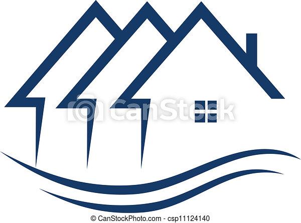 実質, 家, ベクトル, 財産, ロゴ - csp11124140