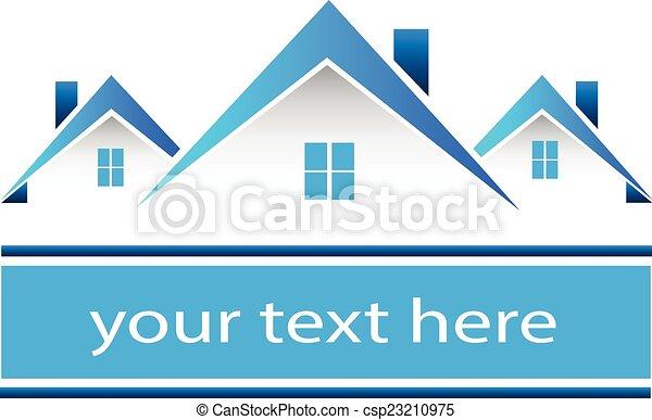 実質, 家, ロゴ, 財産 - csp23210975