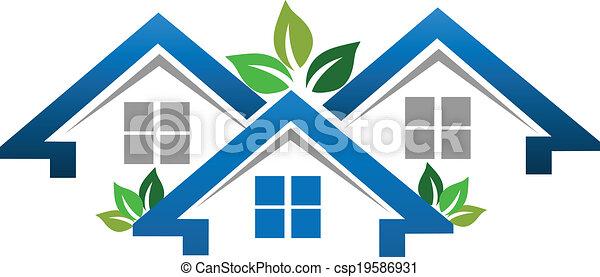 実質, 家, 会社, 財産, ロゴ - csp19586931