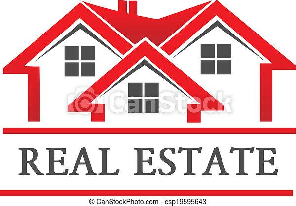 実質, 家, 会社, 財産, ロゴ - csp19595643