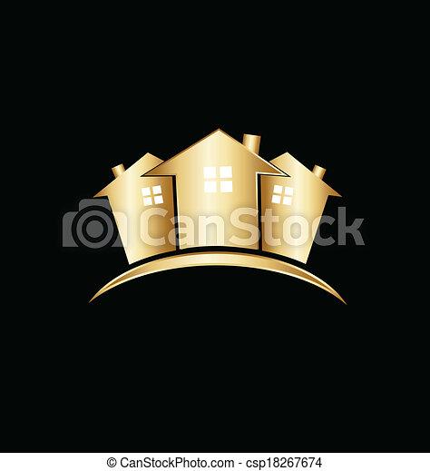 実質, 家, 財産, 金, ロゴ - csp18267674