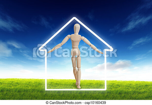 実質, 木製の家, 中, 財産, -, 概念, 家の 保険, 特性, シンボル, ハウジング - csp10160439