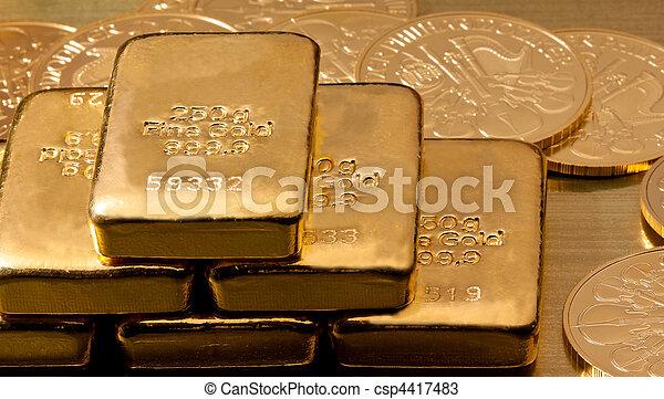 実質, 金貨, より, 金塊, 投資 - csp4417483