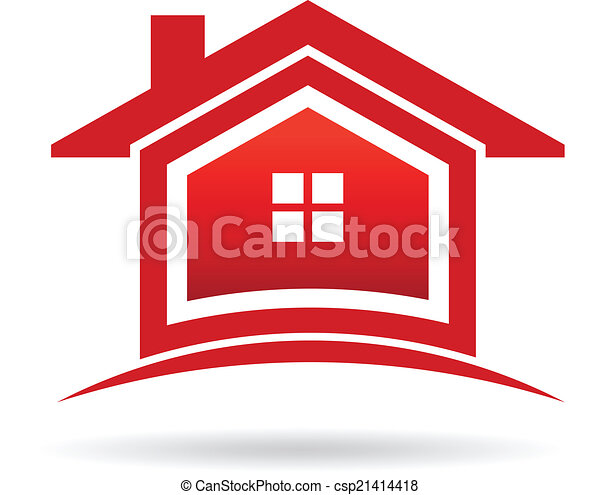 実質, image., 財産, 家, ベクトル, 赤, アイコン - csp21414418