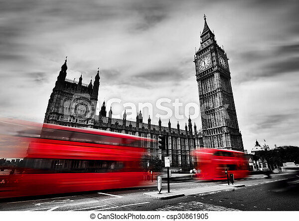 宮殿, 公共汽車, 大, 倫敦, uk., westminster., 黑色, 白色, ben, 紅色 - csp30861905