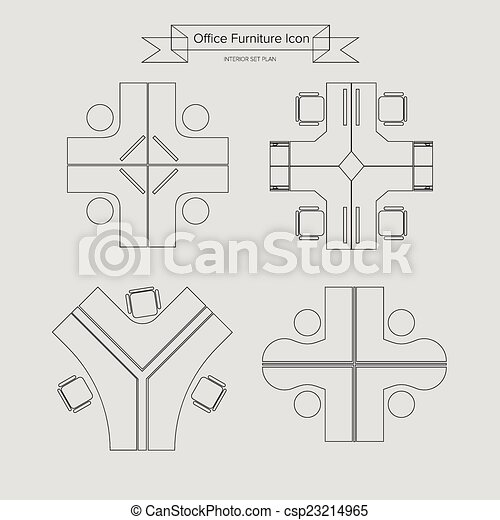 家具, アウトライン, オフィス, アイコン - csp23214965