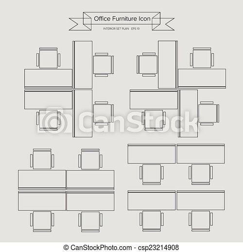 家具, アウトライン, オフィス, アイコン - csp23214908