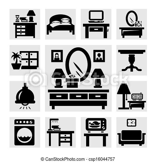 家具, セット, アイコン - csp16044757