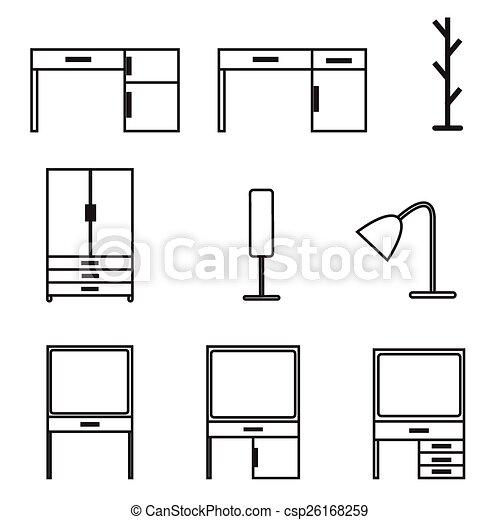 家具, セット, アイコン - csp26168259