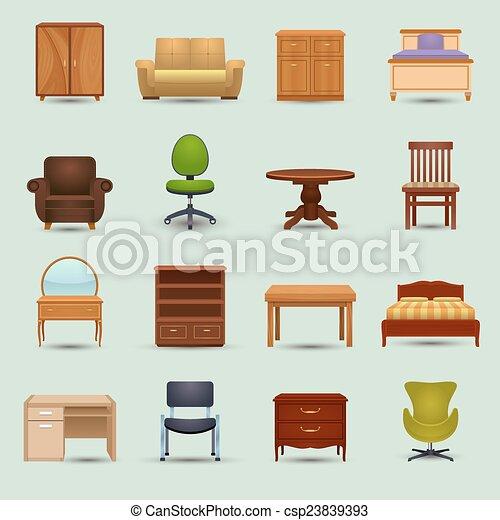 家具, セット, アイコン - csp23839393