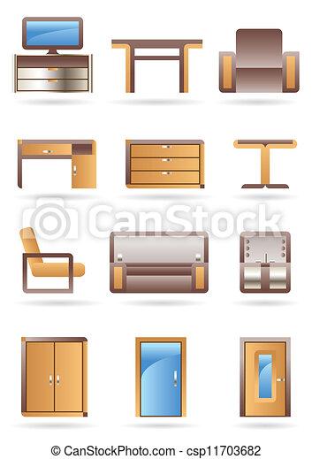 家具, セット, アイコン - csp11703682