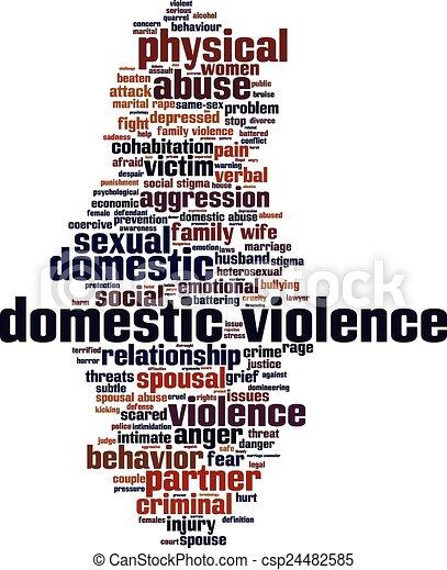 家庭内暴力, 単語, 雲 - csp24482585