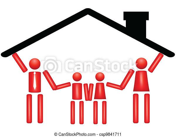 家族一緒, 家 - csp9841711