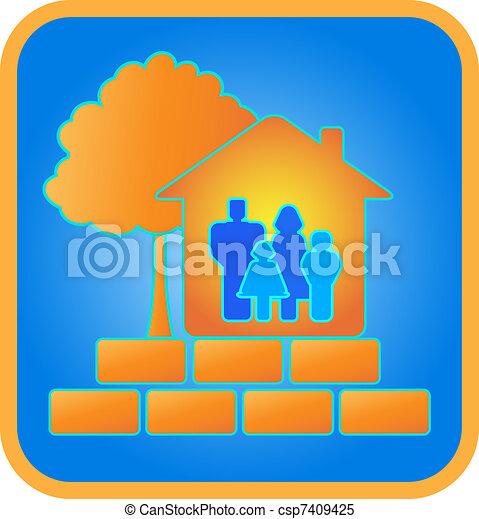 家族, れんが, 木, 家 - csp7409425