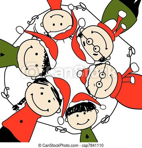 家族, イラスト, デザイン, 陽気, christmas!, あなたの, 幸せ.