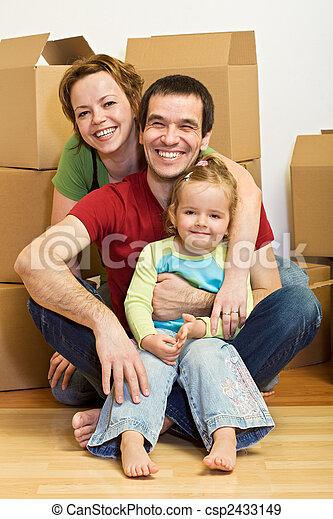 家族, ロット, ∥(彼・それ)ら∥, 箱, 家, 新しい, 幸せ - csp2433149