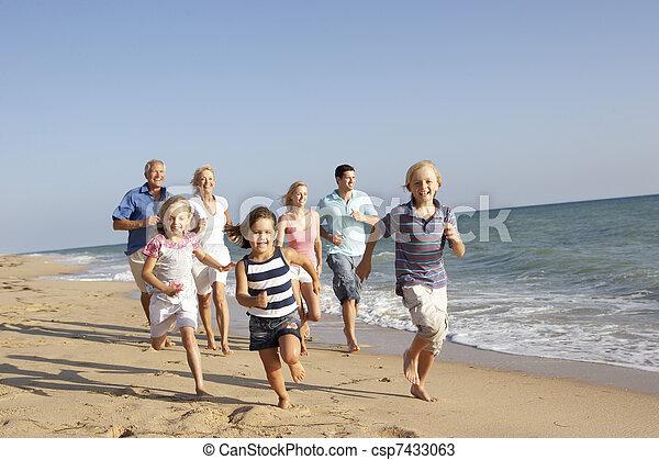 家族, 世代, 3, 肖像画, 休日, 浜 - csp7433063
