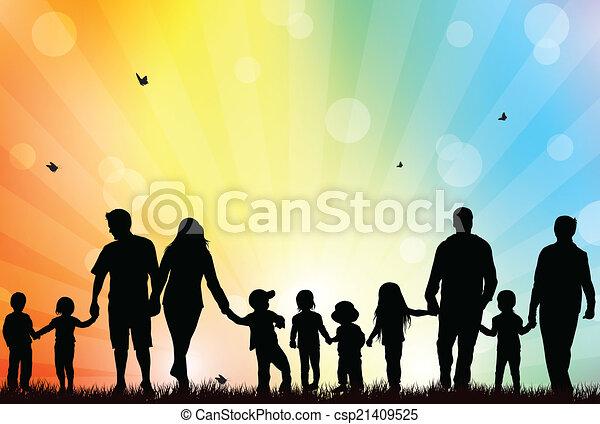 家族, 屋外で - csp21409525