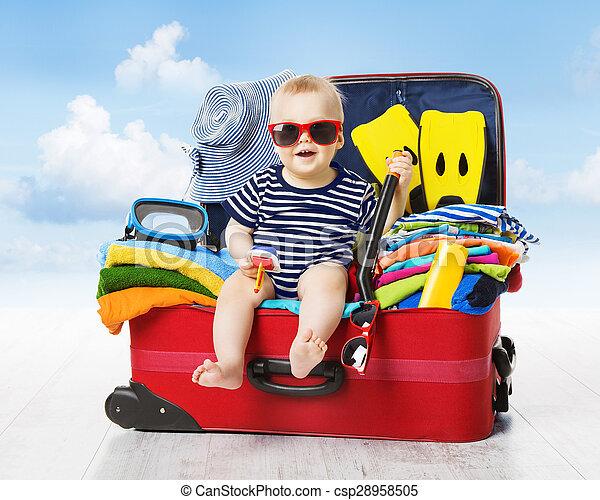家族, 手荷物, 旅行, 子供, 赤ん坊, suitcase., 休暇, 旅行, パックされた, 子供 - csp28958505
