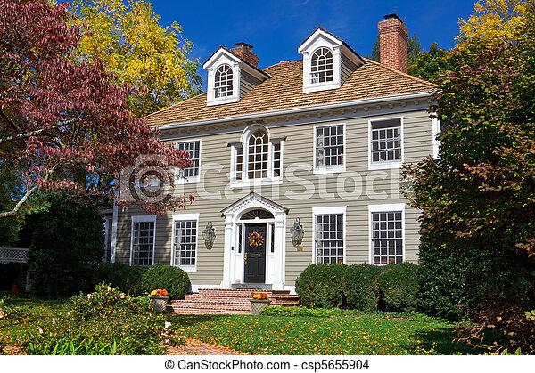家族, 植民地, georgian, 郊外, 単一, 家, 家 - csp5655904