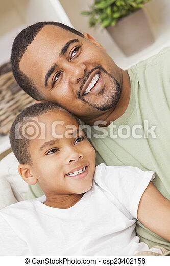 家族, 父, 息子, アメリカ人, アフリカ, 幸せ - csp23402158