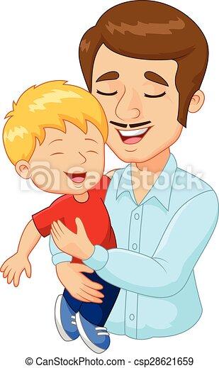 家族, 父, 漫画, 保有物, 幸せ - csp28621659