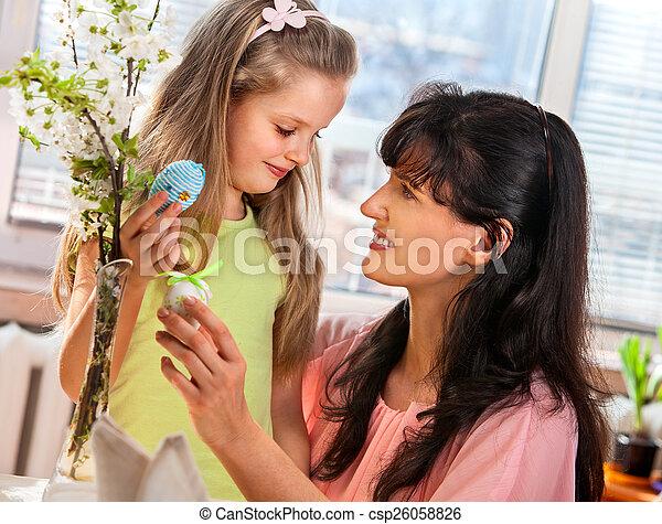 家族, egg., こつ, 子供, イースター, 幸せ - csp26058826