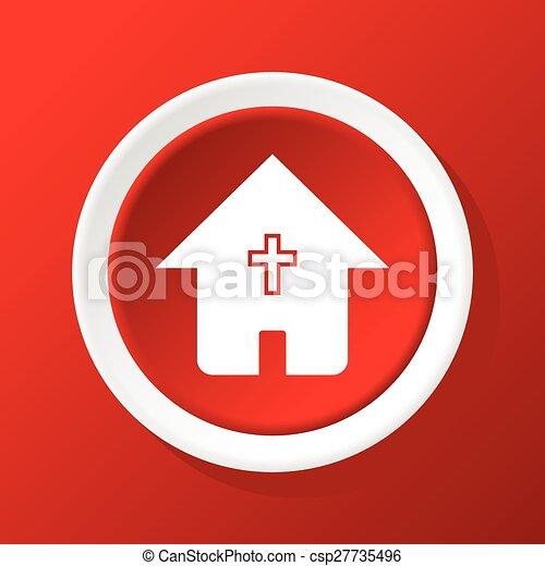家, キリスト教徒, 赤, アイコン - csp27735496