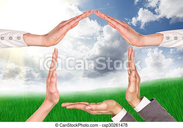 家, シンボル, 手 - csp30261478